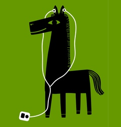 Horse with earphones vector