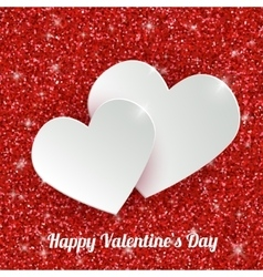 Happy valentines day greeting card with 3d white vector
