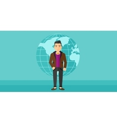 Businessman standing on globe background vector