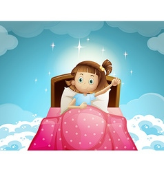 Girl sleeping in bed with sky background vector