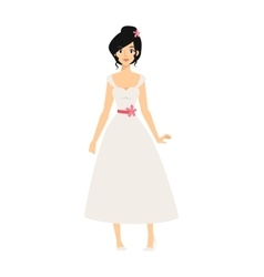 Woman wearing wedding white dress fashion bride vector