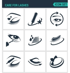 Set of modern icons care for lashes vector