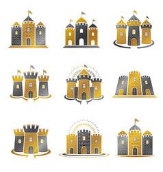 ancient citadels emblems set heraldic design vector image
