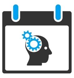Brain gears calendar day toolbar icon vector