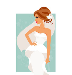 bride in white dress vector image