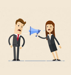 business woman boss shouts at the man employee in vector image