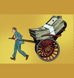 Businessman rickshaw transports money vector