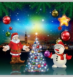 Christmas greeting with panorama of city santa vector