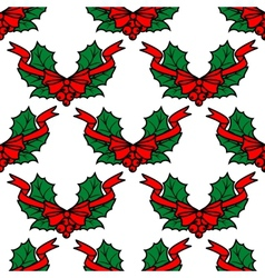 Christmas holly seamless pattern background vector image vector image