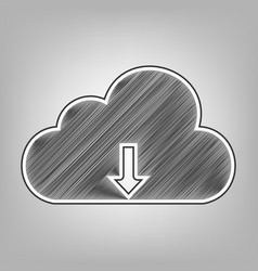 Cloud technology sign pencil sketch vector