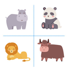 Cute zoo cartoon animals isolated funny wildlife vector