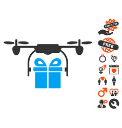 drone gift delivery icon with valentine bonus vector image