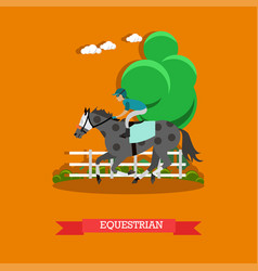 Equestrian sport in flat style vector