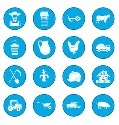 Farm black icon blue vector