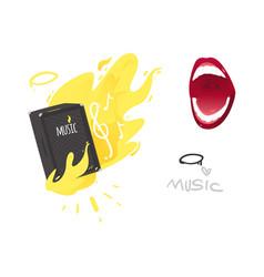 Flat music symbol mouth guitar amplifier vector