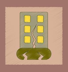 Flat shading style icon earthquake house vector