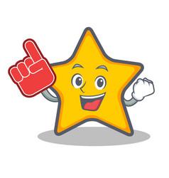 Foam finger star character cartoon style vector