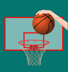 Hand throwing ball in basketball hoop colorful vector