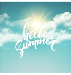 Heloo summer brush lettering on the cloud vector