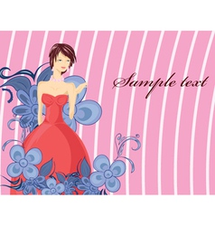 Lady with floral vector