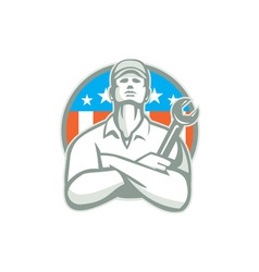 Mechanic arms crossed wrench usa flag retro vector