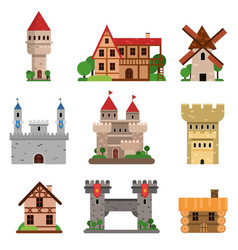 medieval historical buildings of different vector image vector image