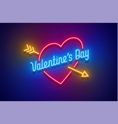 neon light valentines day i love you card vector image vector image