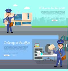 post service cartoon web banners set vector image vector image
