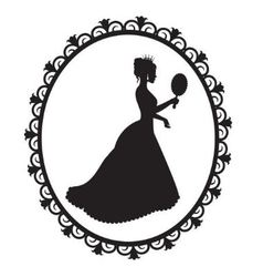 princess silhouette in the frame vector image vector image