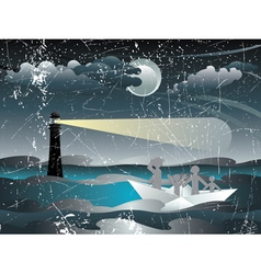 Refugees in Paper Boat3 vector image