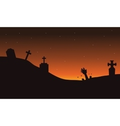 Scary hand zombie in tomb halloween backgrounds vector