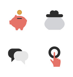 set of simple trade icons elements moneybox wallet vector image