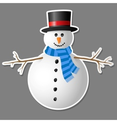 Snowman isolated on grey background vector