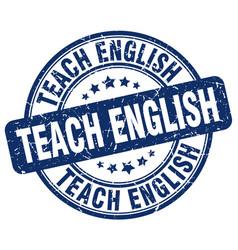 Teach english blue grunge stamp vector