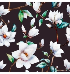 Watercolor magnolia pattern vector image