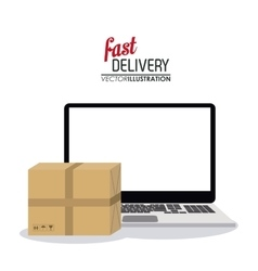Laptop and package icon fast delivery design vector