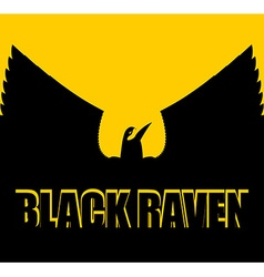 Black raven on yellow background big bird spread vector