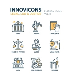 Law and justice - flat design icons set vector