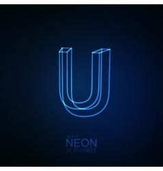 Neon 3D letter U vector image