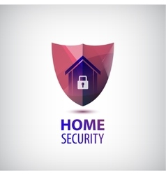 Home security logo 3d red shield with vector