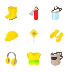Road construction repair icons set cartoon style vector