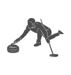 Curling game sport vector