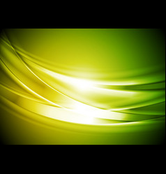 Green yellow blurred abstract waves background vector