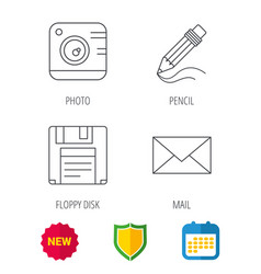 photo camera pencil and mail icons vector image