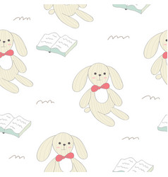 Cute rabbit seamless pattern vector