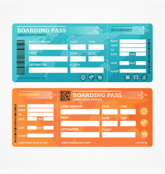 Boarding pass tickets airplane set vector