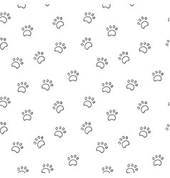 seamless pattern with paw isolated on white vector image