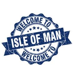 Isle of man round ribbon seal vector