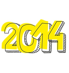 New year 2014 hand drawn sign or numer symbol vector