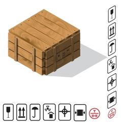 Wooden cargo box vector